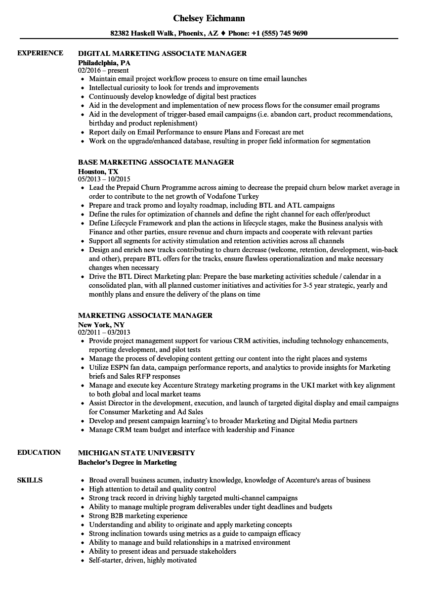 Marketing Associate Manager Resume Samples Velvet Jobs