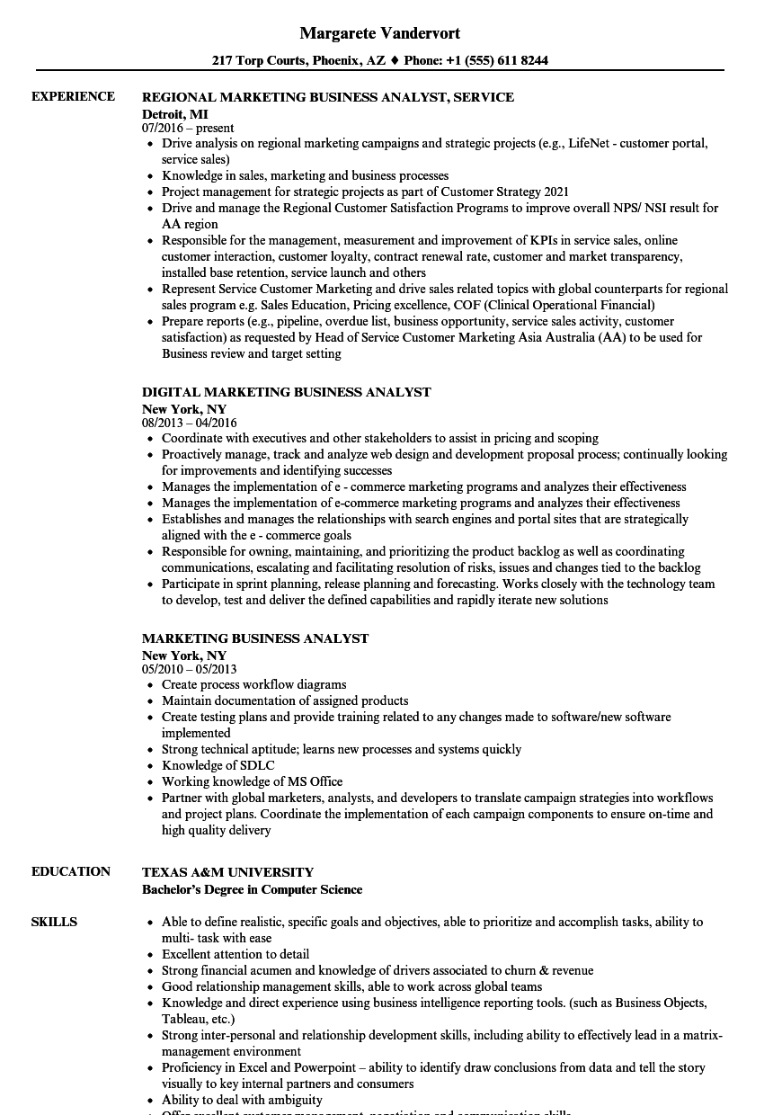 marketing business analyst resume samples