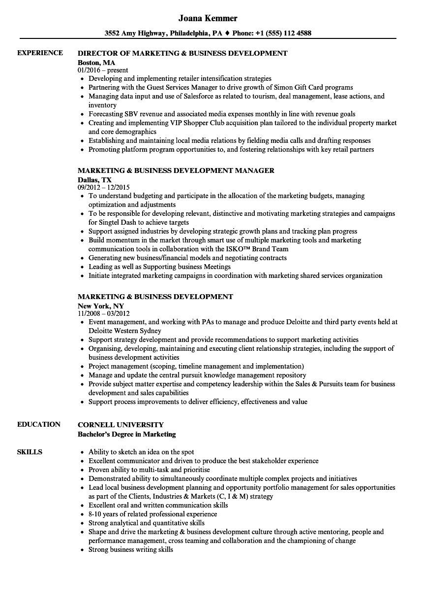 Marketing Business Development Resume Samples Velvet Jobs