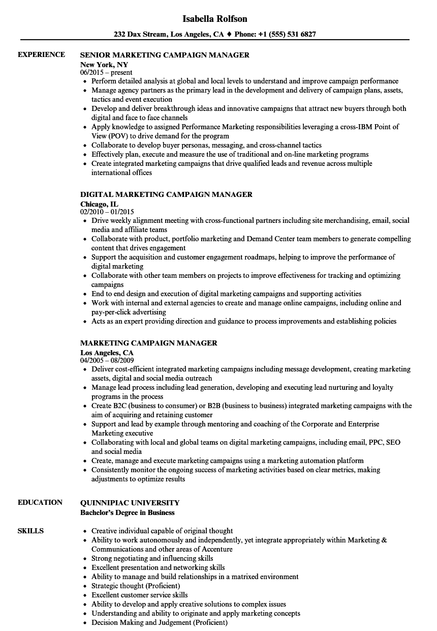 Marketing Campaign Manager Resume Samples | Velvet Jobs