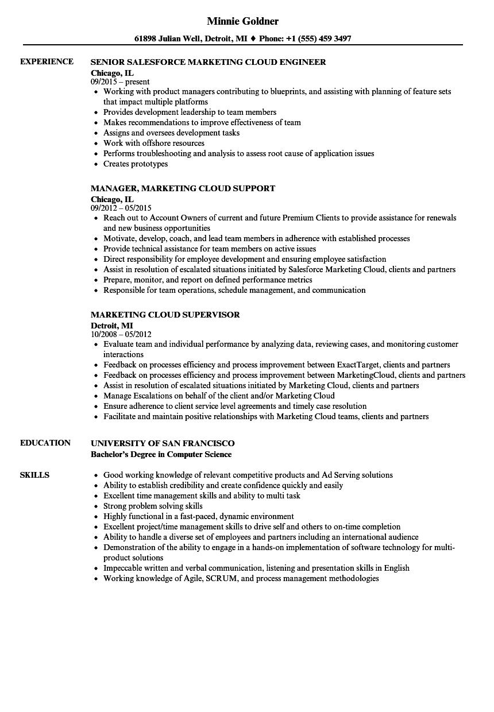 marketing cloud resume samples