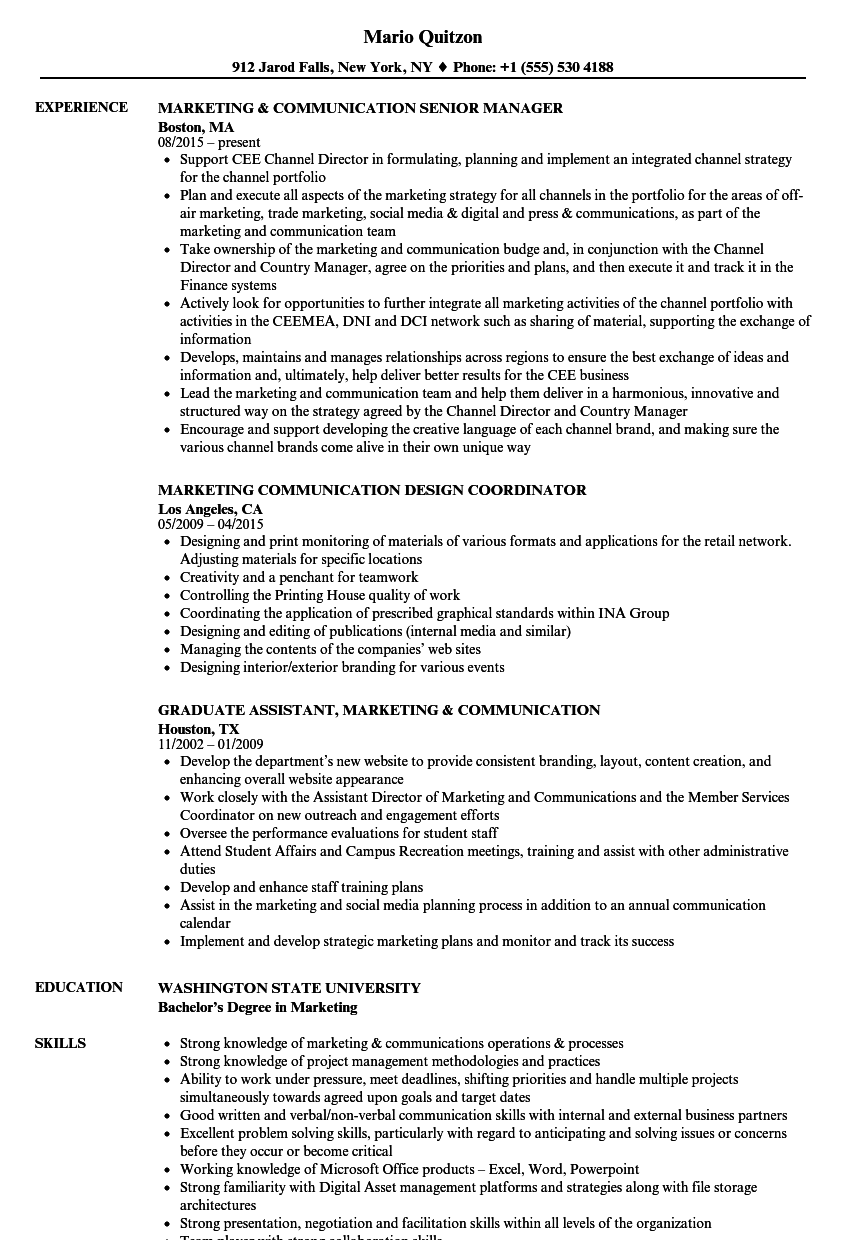marketing  u0026 communication resume samples