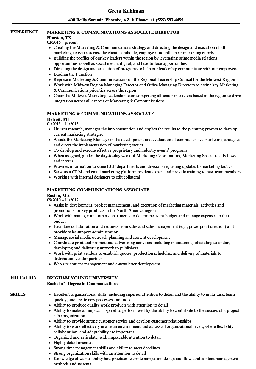 marketing communications associate resume samples
