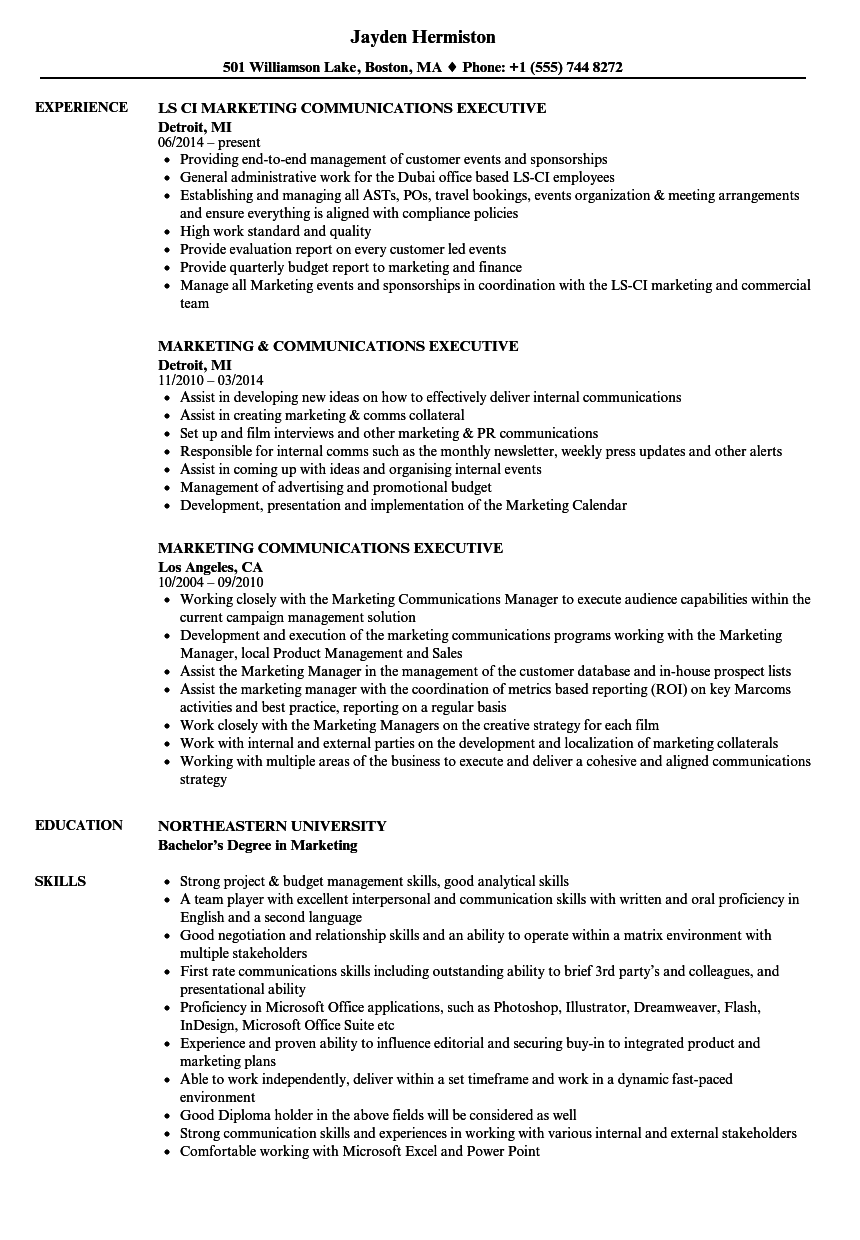 Download Marketing Communications Executive Resume Sample As Image File  Executive Resumes Samples