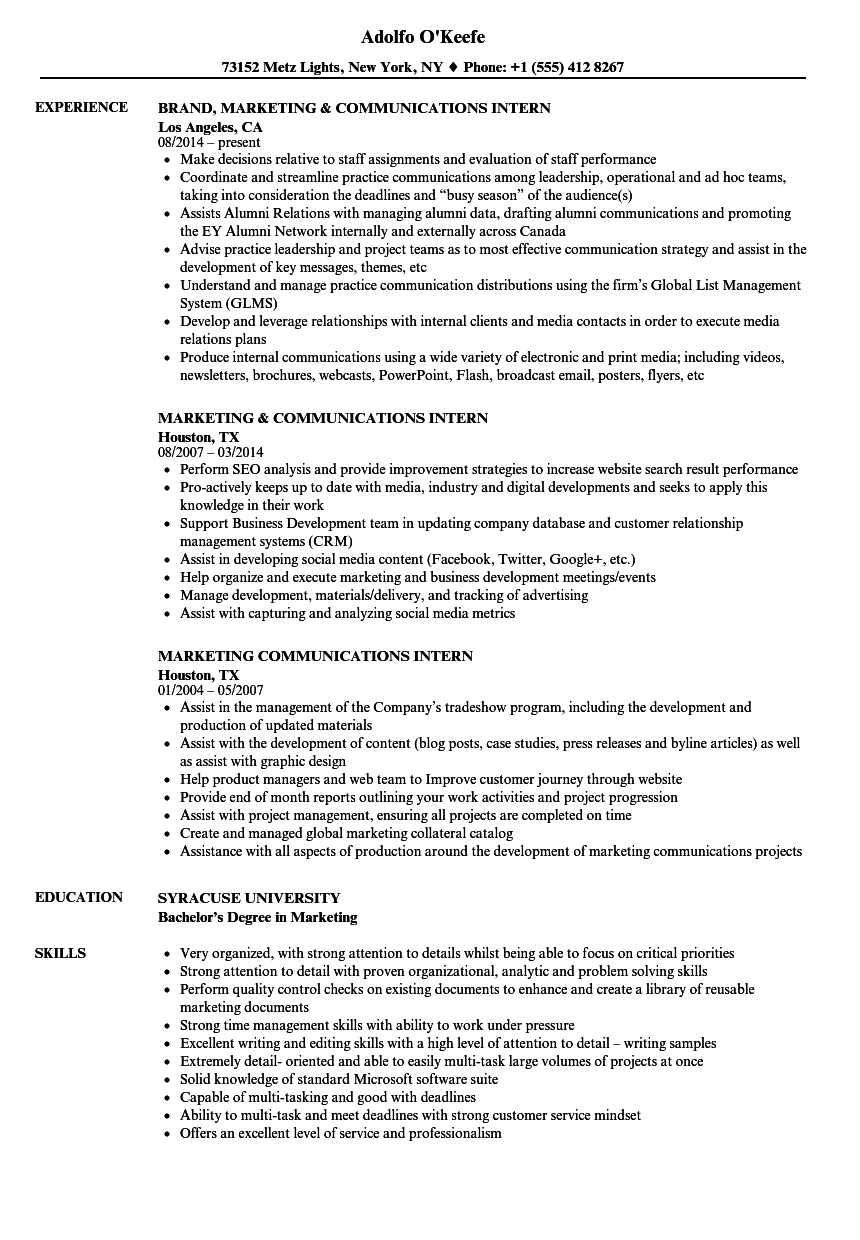 marketing communications intern resume samples
