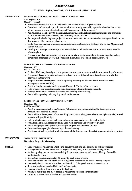 marketing communications intern resume samples  velvet jobs