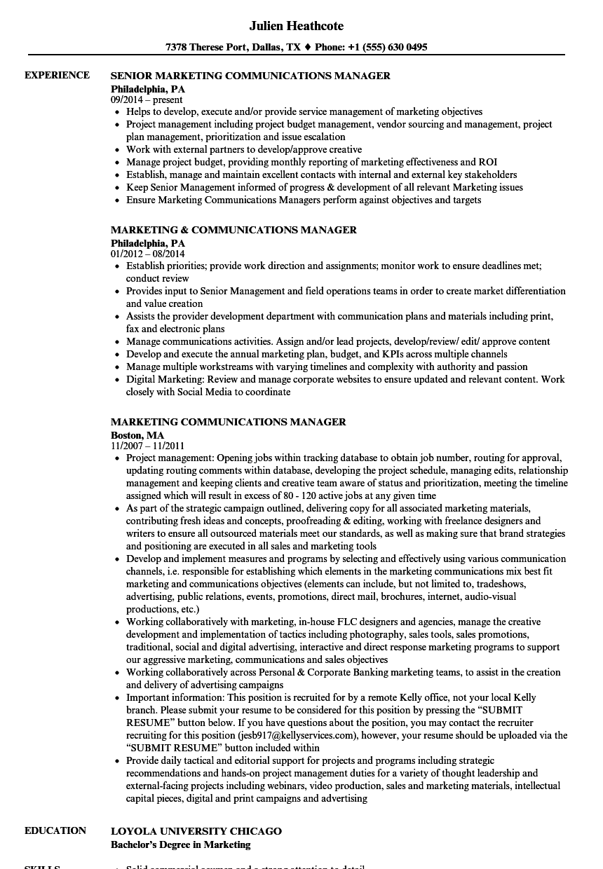 marketing communications manager resume samples