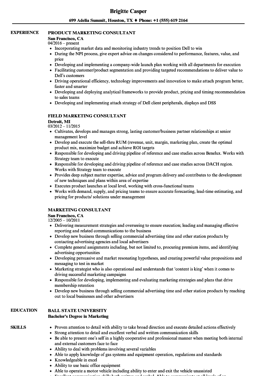 resume example marketing consultant