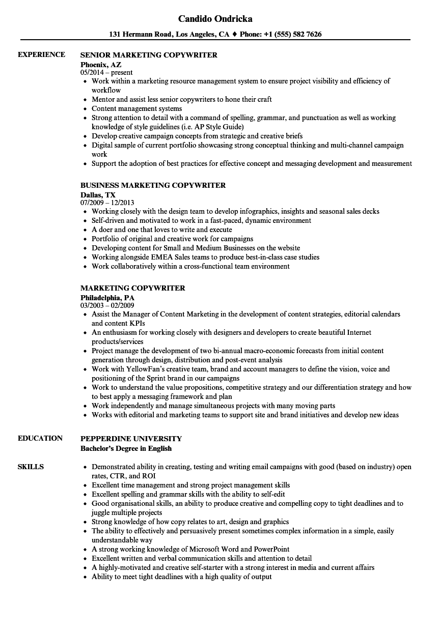 download marketing copywriter resume sample as image file - Sample Ad Copywriter Resume
