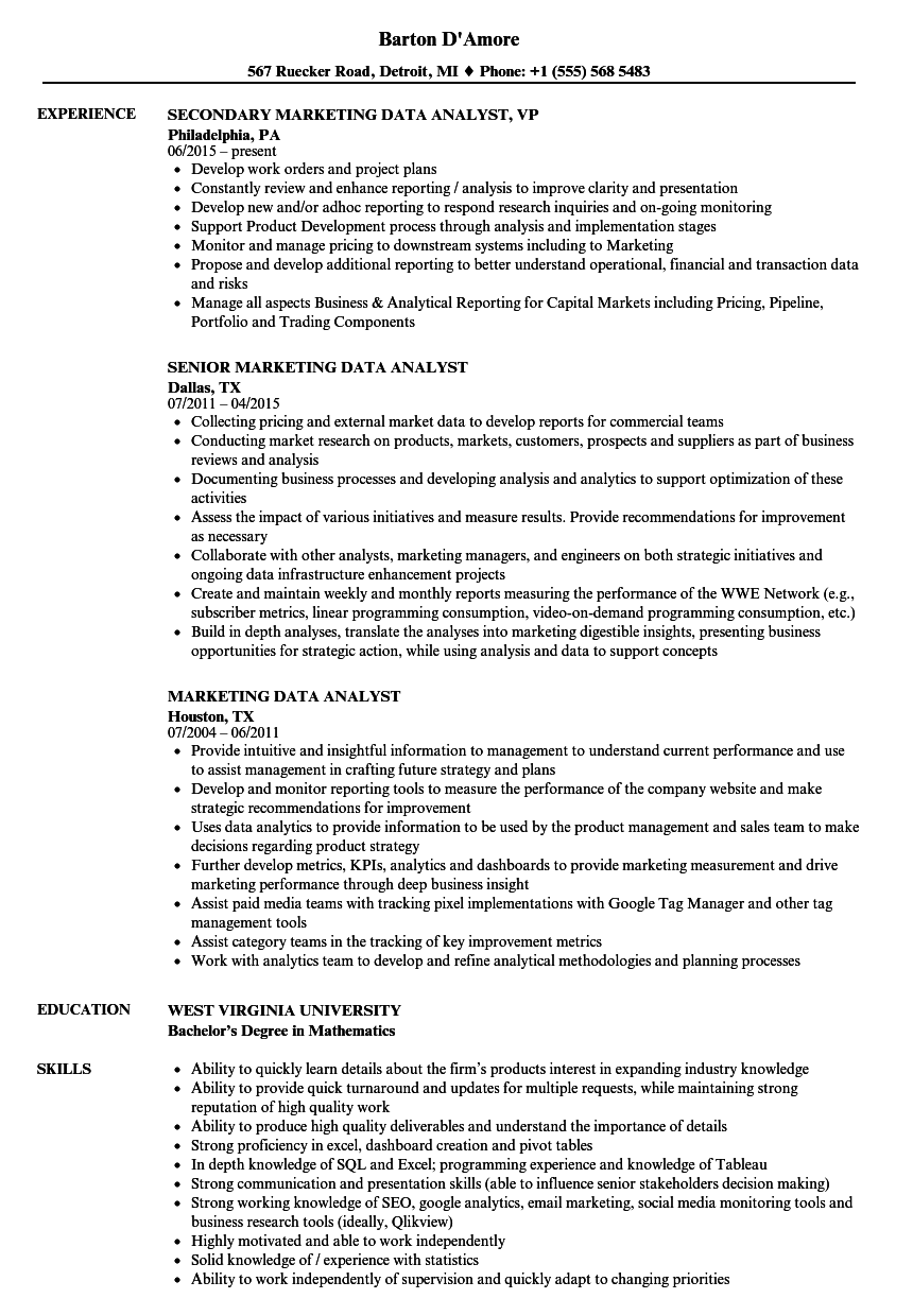 Marketing Data Analyst Resume Samples | Velvet Jobs