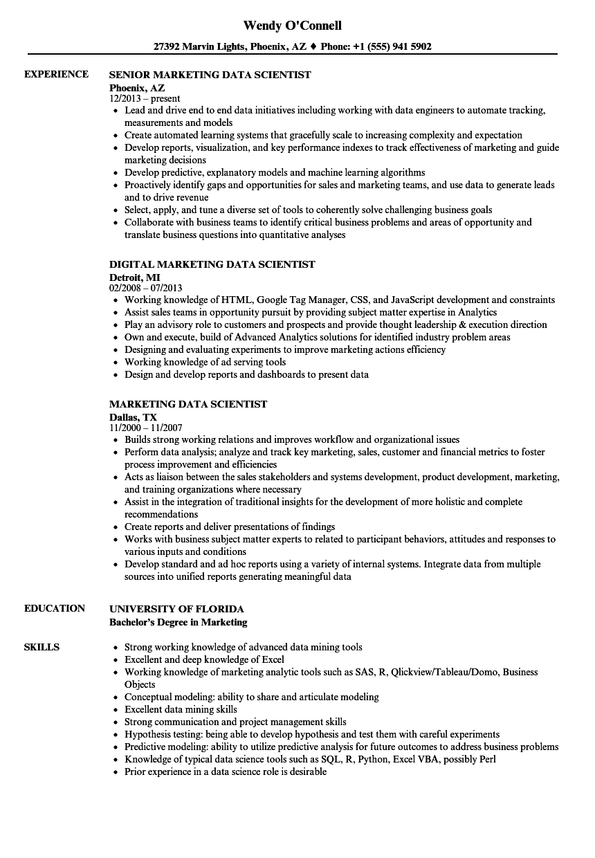 Download Marketing Data Scientist Resume Sample As Image File