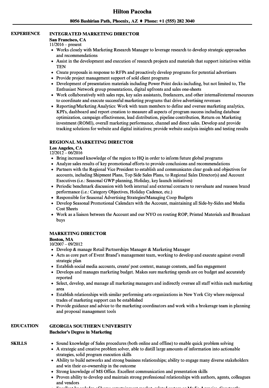 Marketing Director Resume Samples | Velvet Jobs