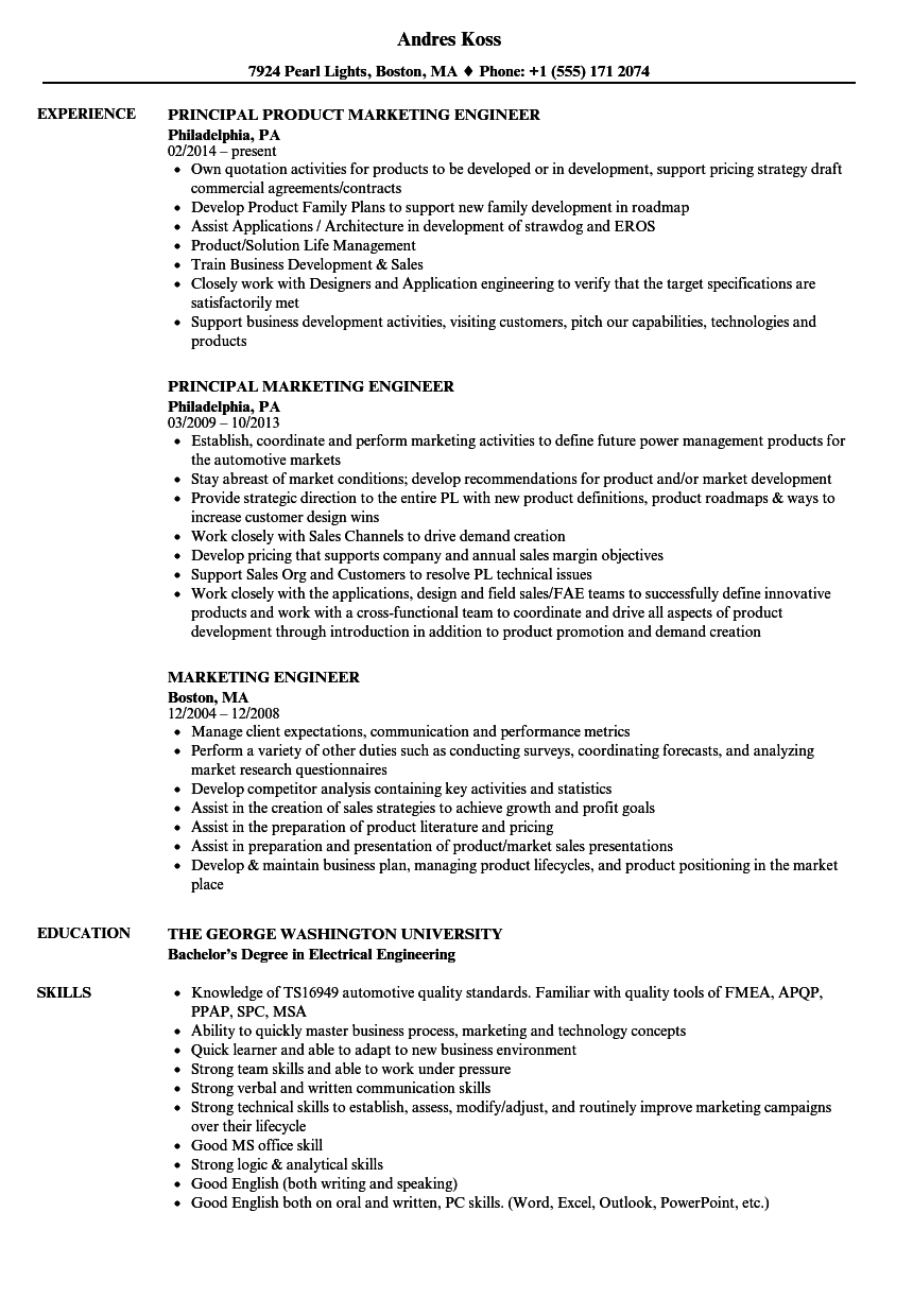 marketing engineer resume samples velvet jobs