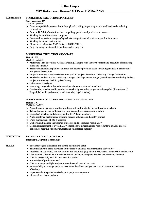 marketing execution resume samples