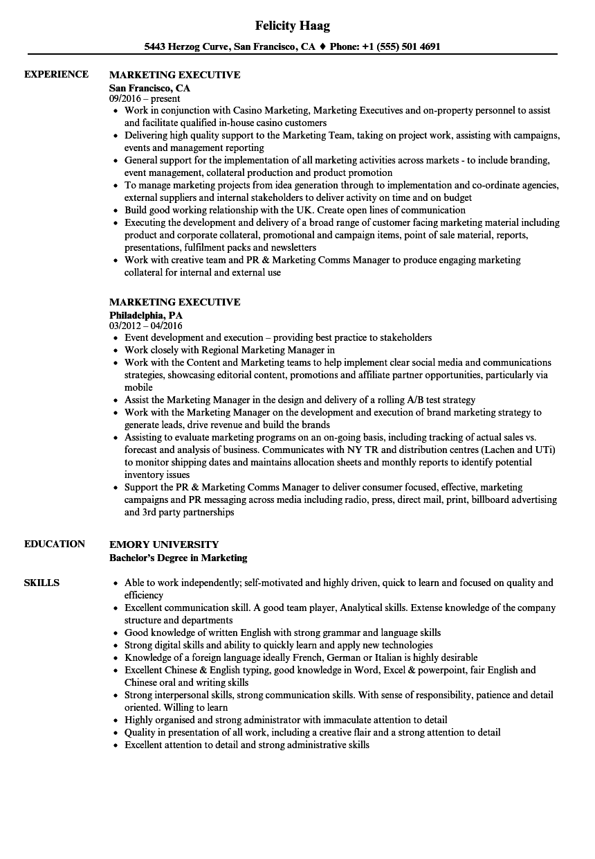 Marketing Executive Resume Samples | Velvet Jobs