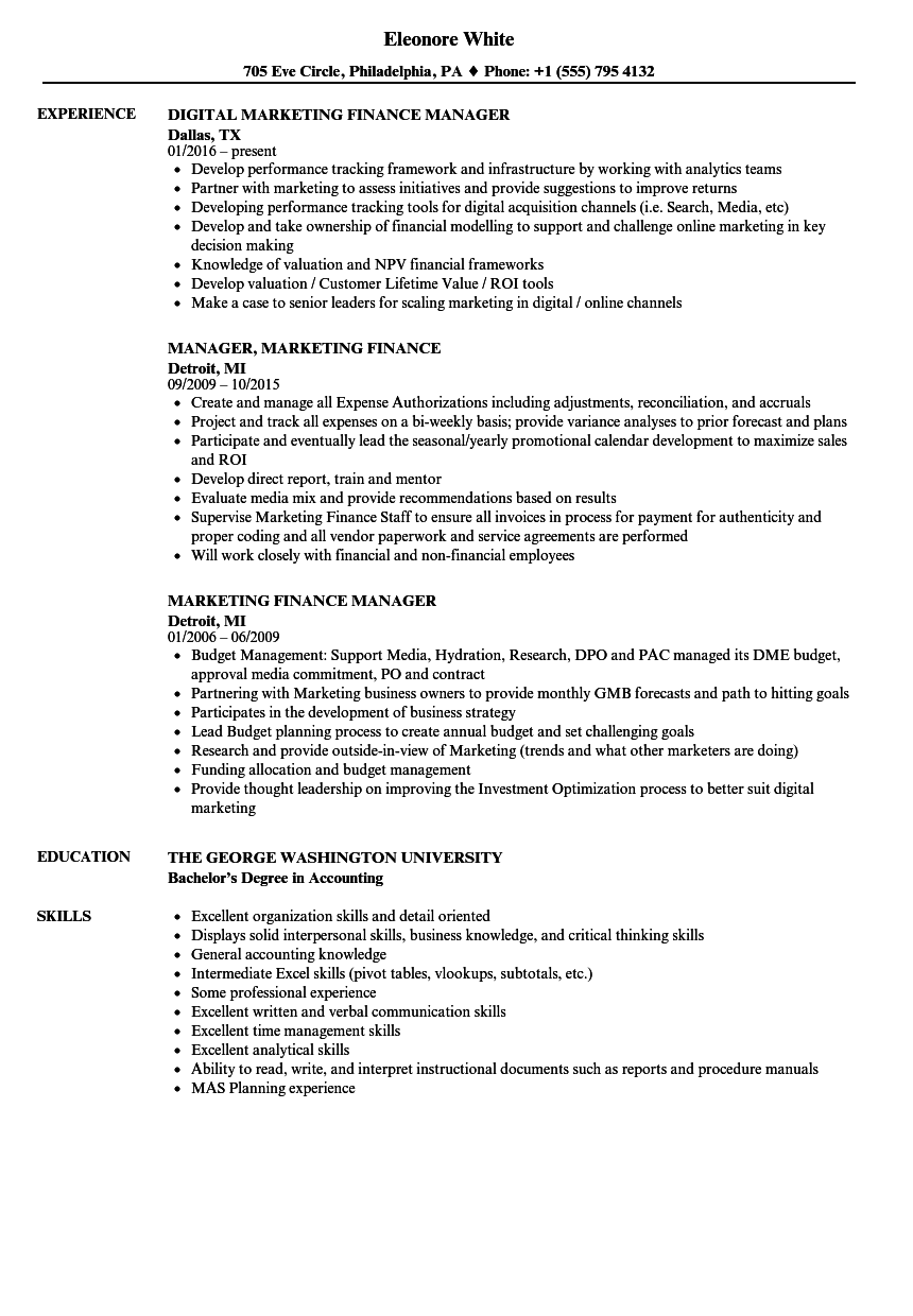 Marketing Finance Resume Samples | Velvet Jobs