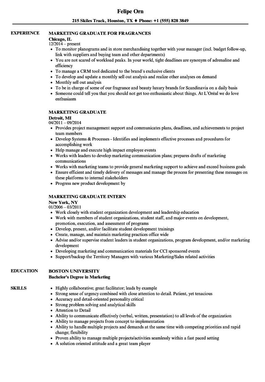 Marketing Graduate Resume Samples | Velvet Jobs