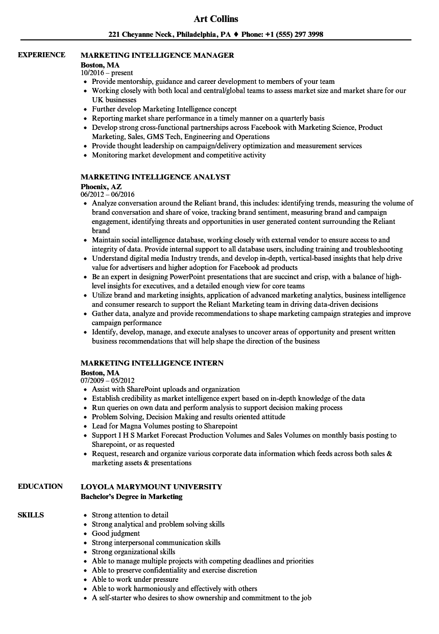 marketing intelligence resume samples