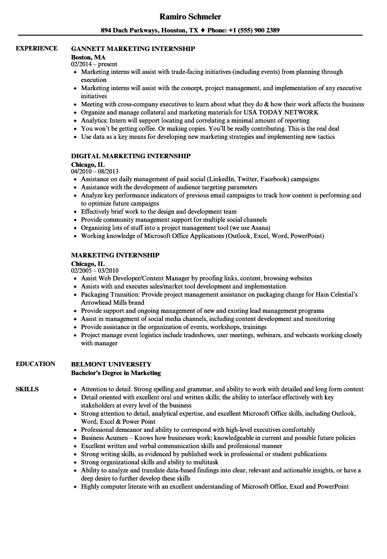 Resume For Internship Marketing