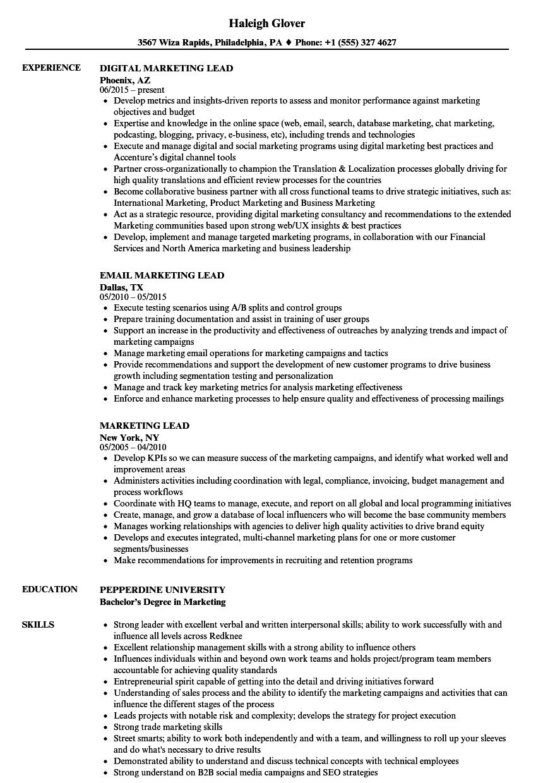 Marketing Lead Resume Samples | Velvet Jobs