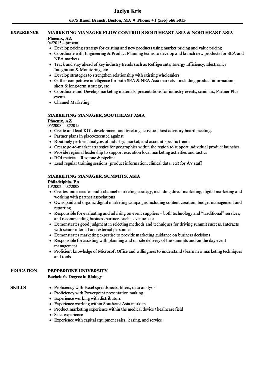 Marketing Manager, Asia Resume Samples | Velvet Jobs