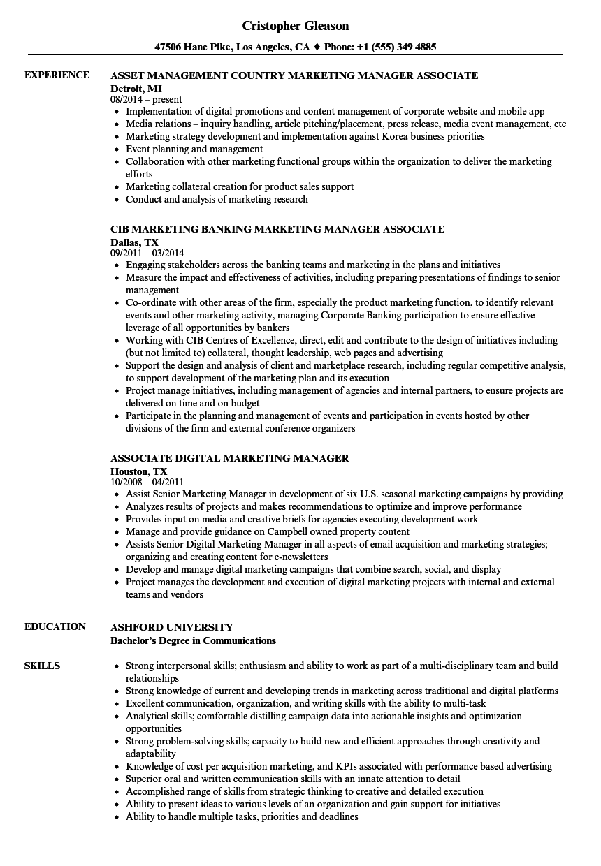 marketing manager    associate resume samples