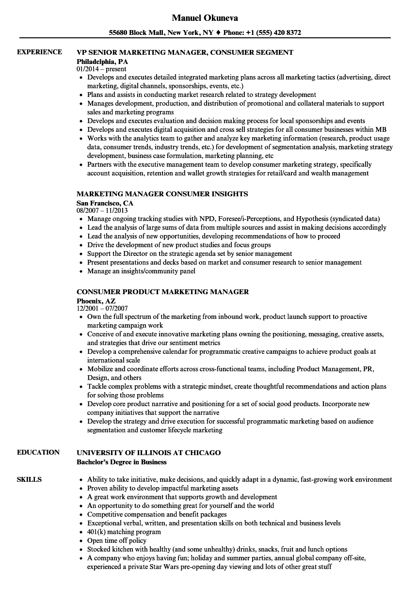 Marketing Manager Consumer Resume Samples Velvet Jobs