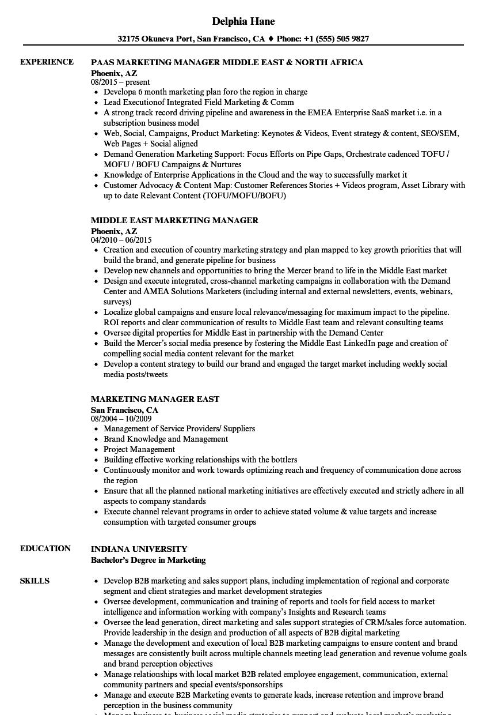 Marketing Manager East Resume Samples | Velvet Jobs