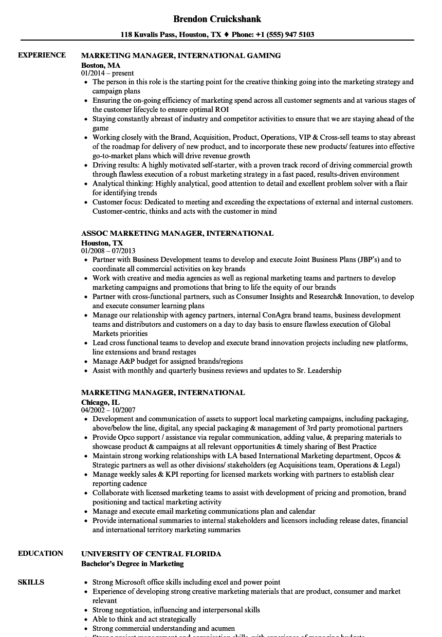 marketing manager  international resume samples