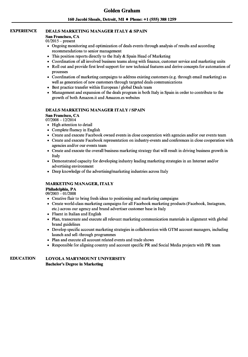 marketing manager  italy resume samples
