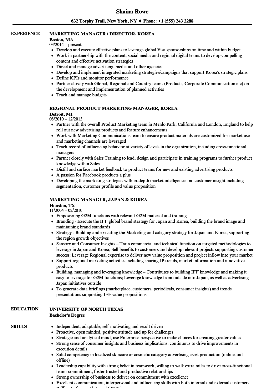 marketing manager korea resume samples
