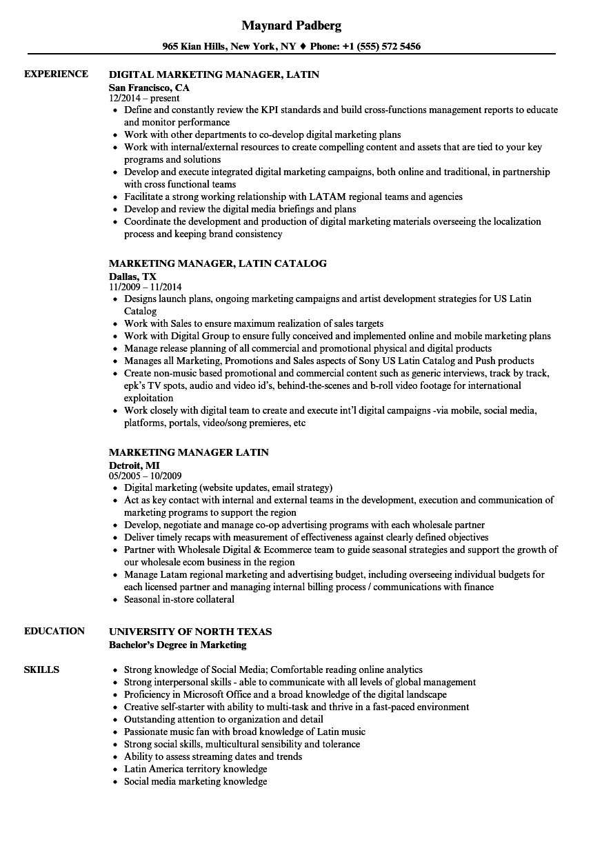 Related Job Titles. Marketing Manager, Email Resume Sample  Resume For Marketing Job