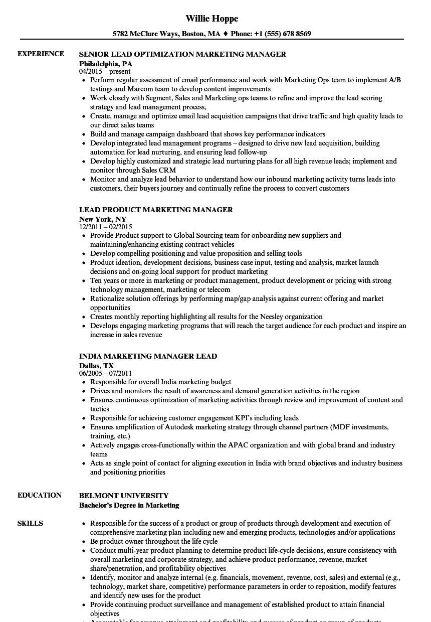Marketing Manager Lead Resume Samples | Velvet Jobs