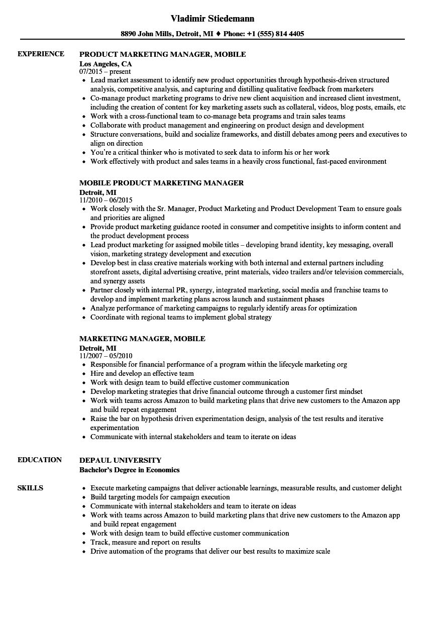 Marketing Manager Mobile Resume Samples Velvet Jobs