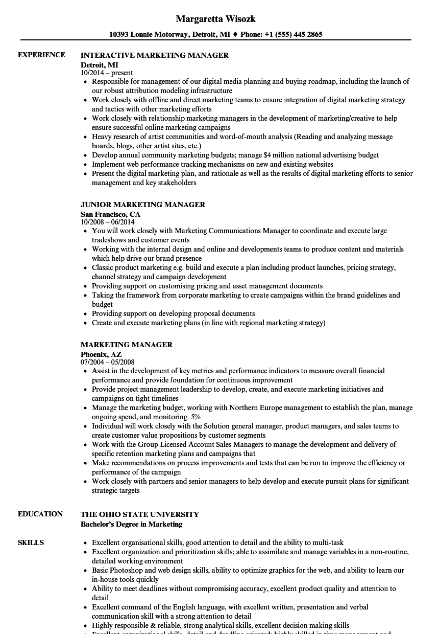 Marketing Manager Resume Samples | Velvet Jobs