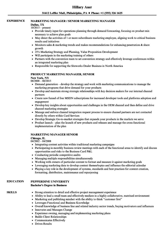 Marketing Manager Senior Resume Samples | Velvet Jobs