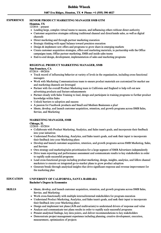 marketing manager  smb resume samples