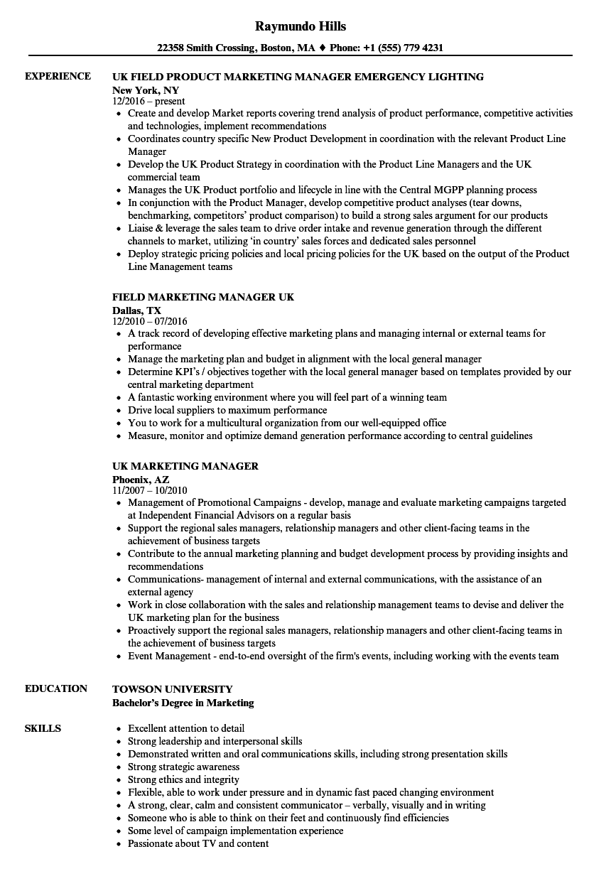 Marketing Manager, UK Resume Samples | Velvet Jobs