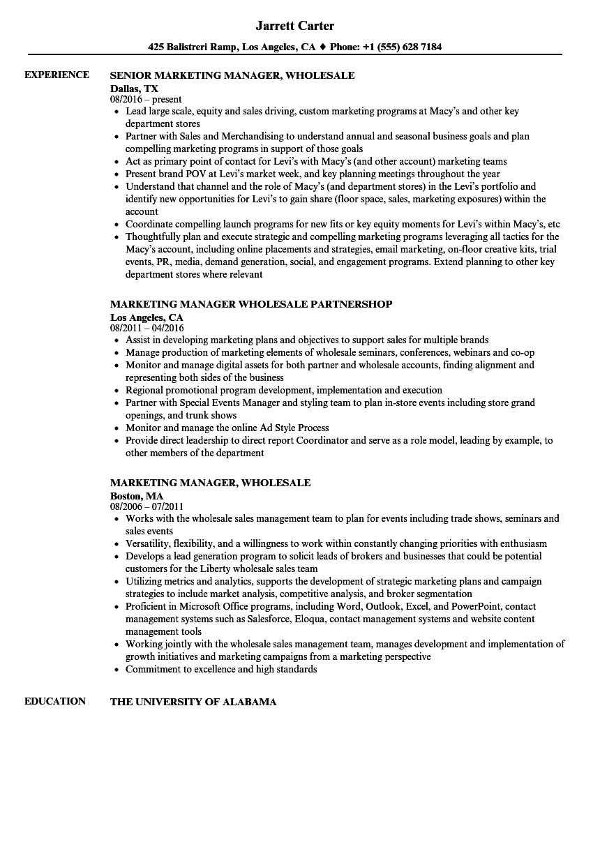 resume for a marketing job
