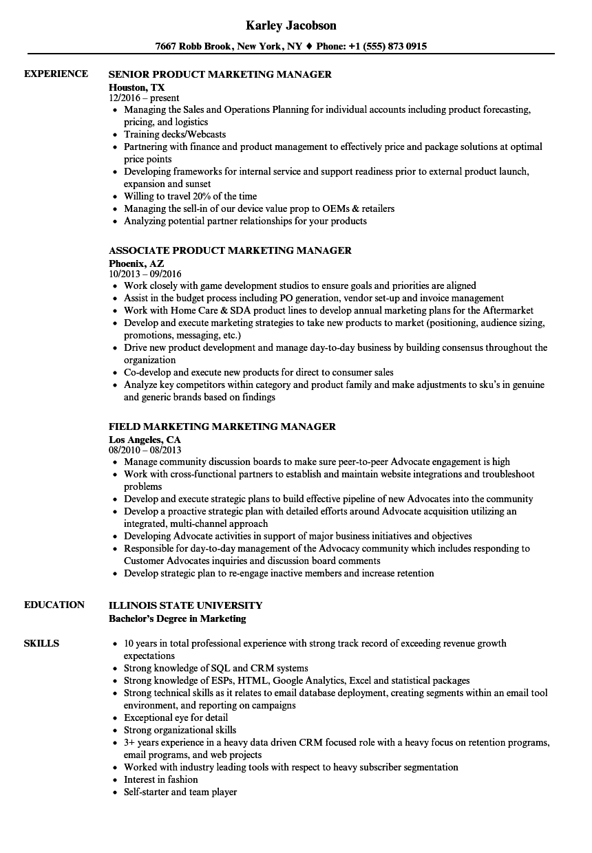 marketing marketing manager resume samples | velvet jobs