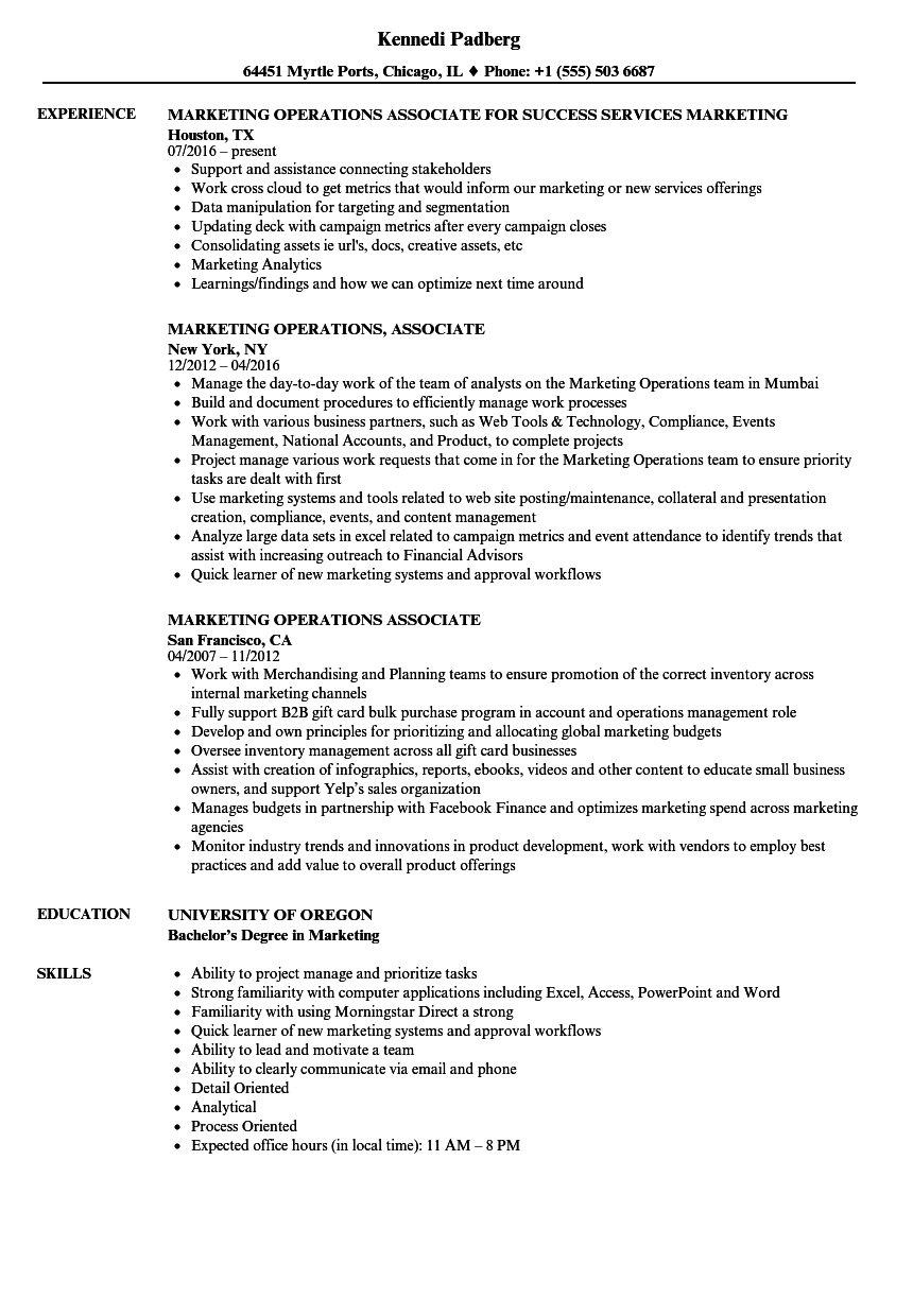 marketing operations  associate resume samples