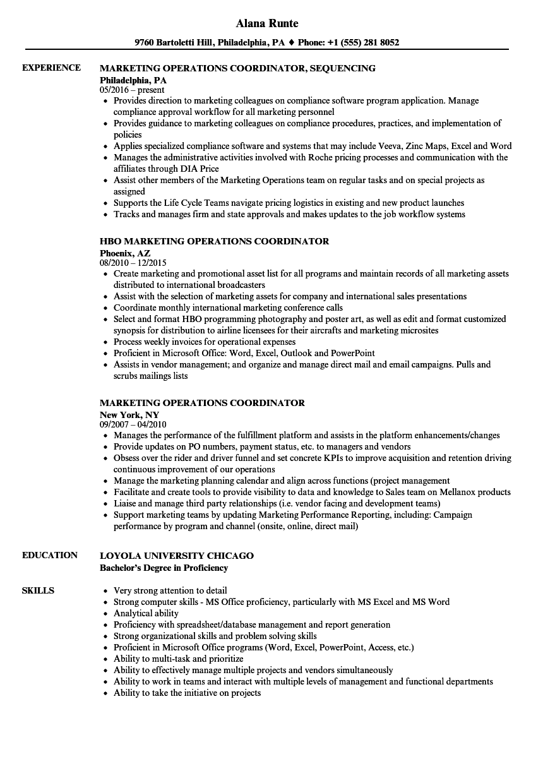 Marketing Operations Coordinator Resume Samples | Velvet Jobs