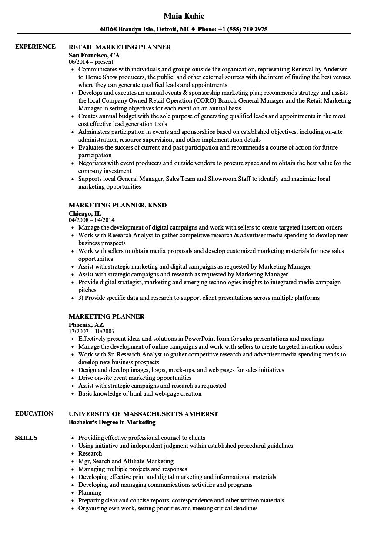 Marketing Planner Resume Samples | Velvet Jobs