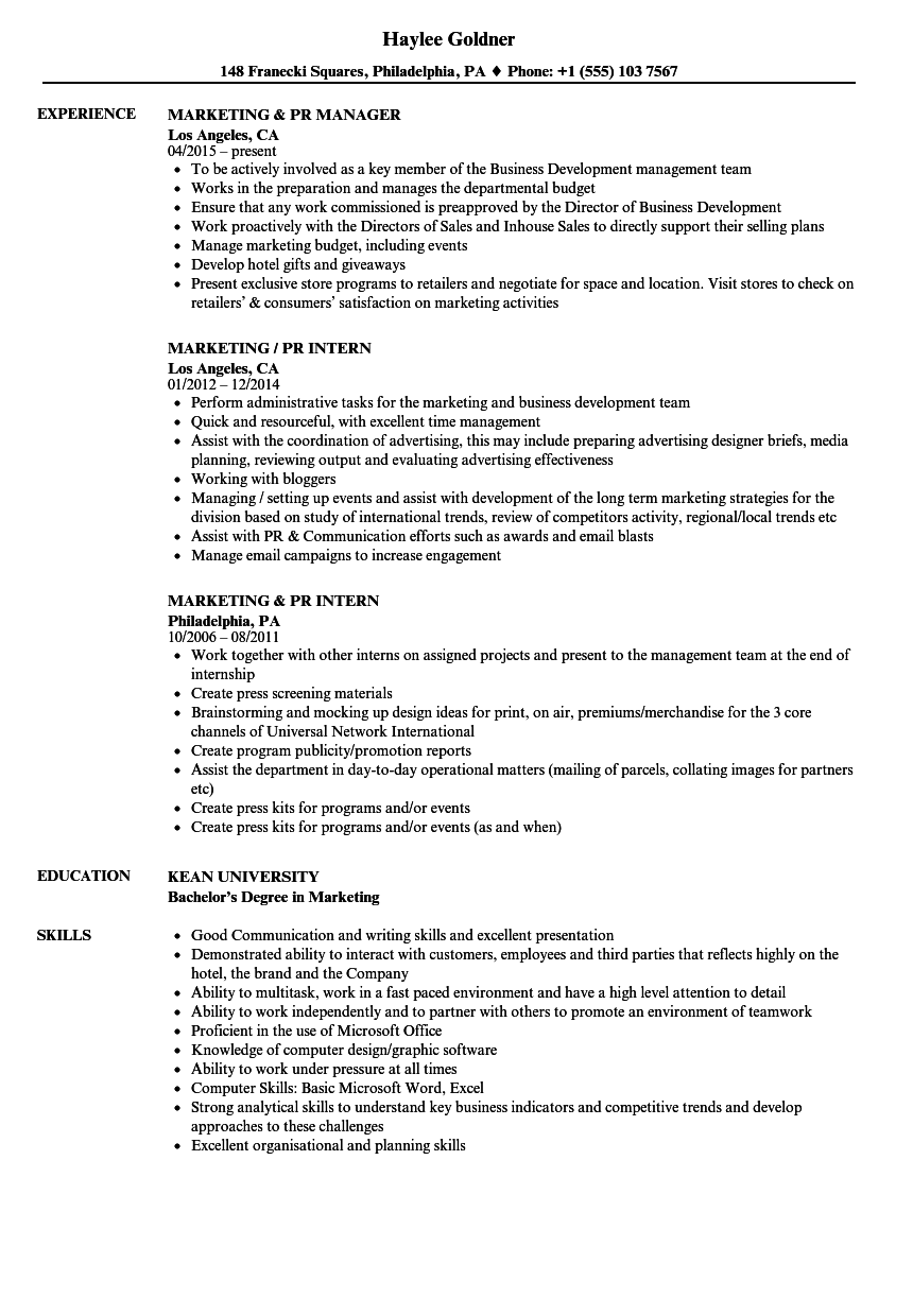 marketing  u0026 pr resume samples