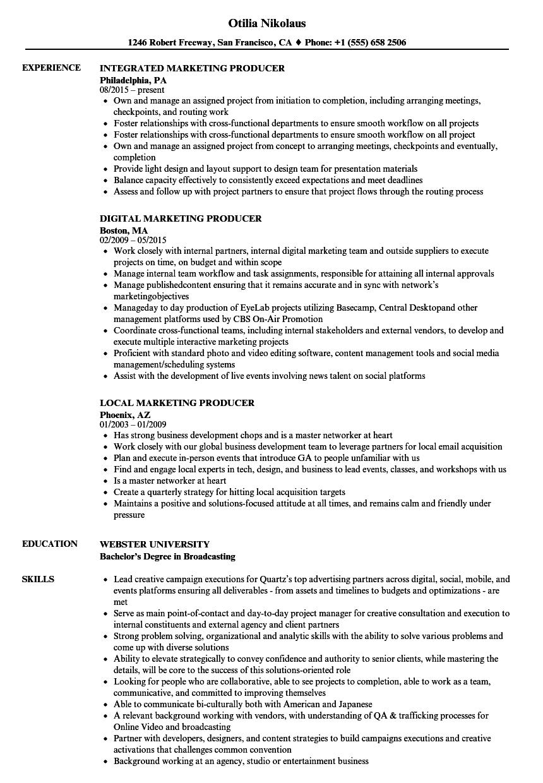marketing producer resume samples