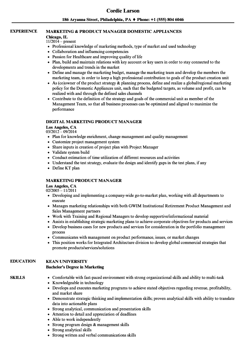 Marketing Product Manager Resume Samples | Velvet Jobs