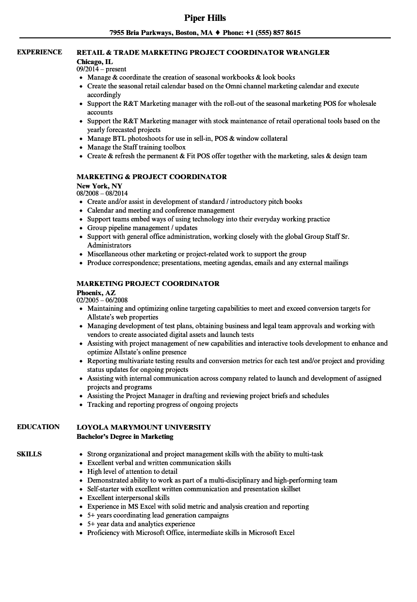 marketing project coordinator resume samples