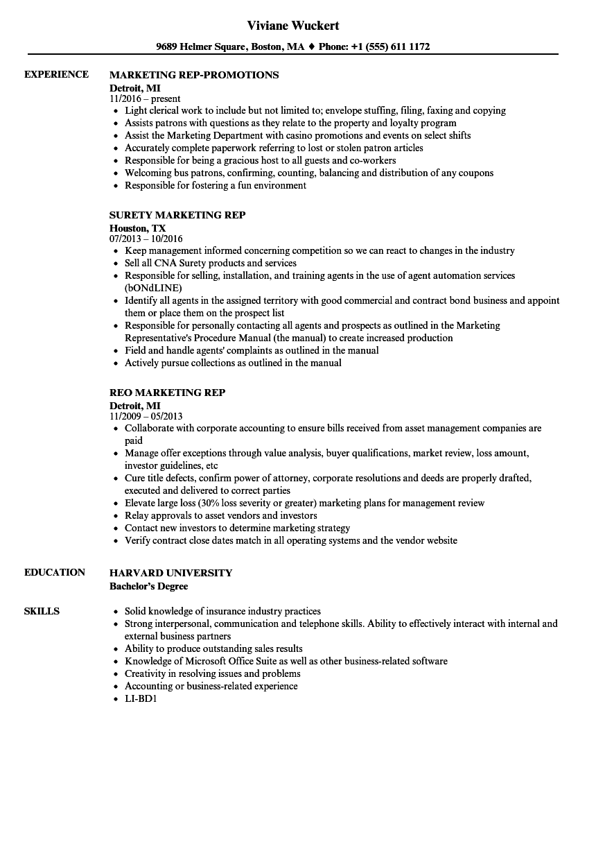 Marketing Rep Resume Samples | Velvet Jobs