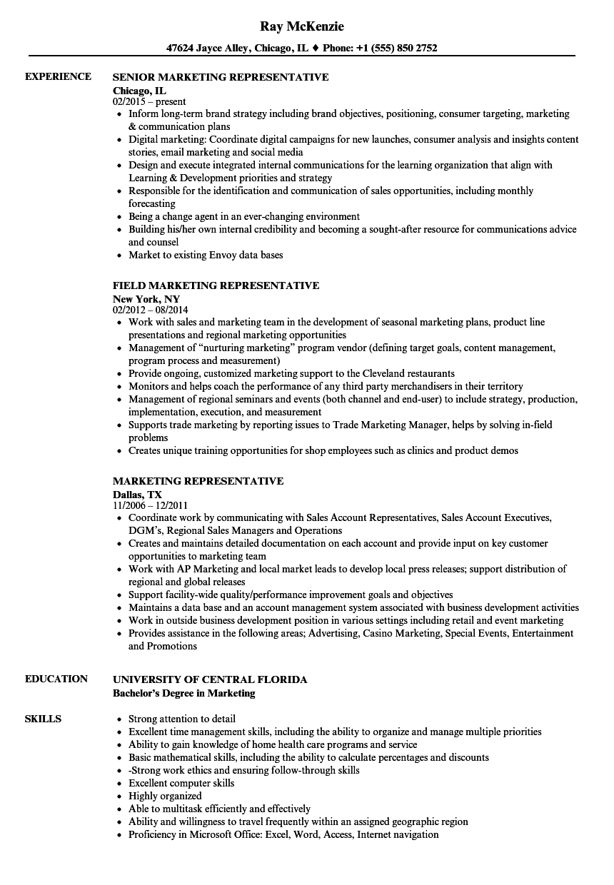 Marketing Representative Resume Samples | Velvet Jobs