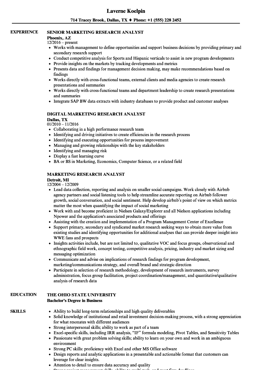 Marketing Research Analyst Resume Samples | Velvet Jobs